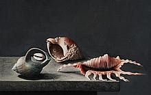 Stuart Morle (b.1960) STILL LIFE WITH FOUR SHELLS AFTER ADRIAEN COORTE