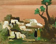 Markey Robinson (1918-1999) TWO FIGURES IN A MOROCCAN LANDSCAPE
