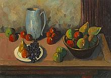 Peter Collis RHA (1929-2012) STILL LIFE WITH BLUE VASE AND FRUIT