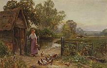 Ernest Charles Walbourn (English, 1872-1927) FEEDING THE CHICKENS