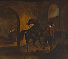 18th Century French School  HORSE AND GROOM; CONTINENTAL COAST SCENE 18th Century Dutch School and DUART CASTLE, SOUND OF MULL, SCOT...