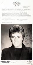 Frankie Valli. Signed and inscribed photograph.
