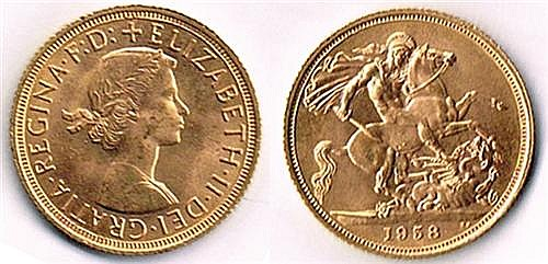 Elizabeth II gold sovereigns, 1958 (5)