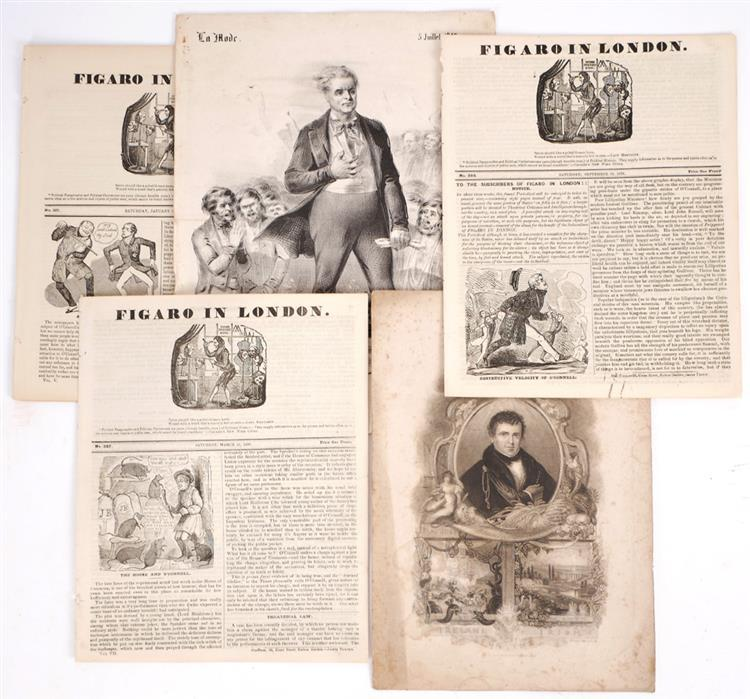 1836-38 Daniel O'Connell in The Figaro in London and two prints of O'Connell. (6)