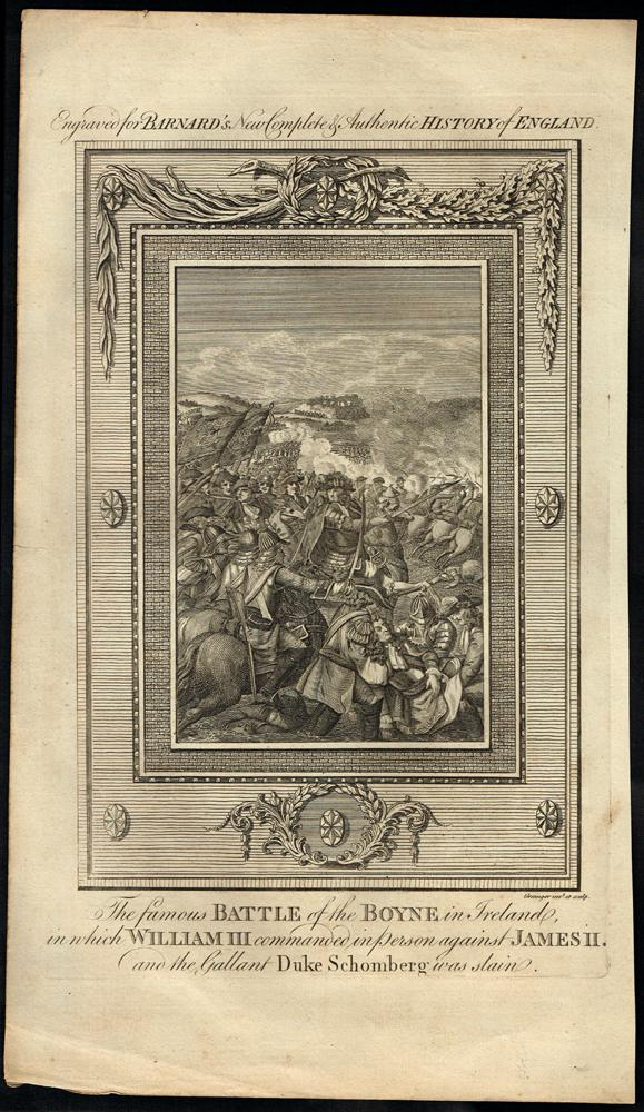 1690 The Famous Battle of the Boyne, an 18th century engraving.