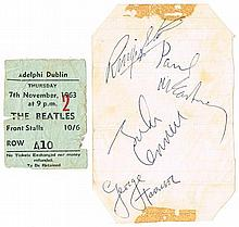 The Beatles. 1963 Dublin concert collection including autographs.