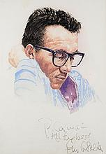Elvis Costello: Signed watercolour portrait by Cormac Dennis
