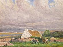 Charles Vincent Lamb RHA RUA (1893-1964) COTTAGE WITH CATTLE and WEST OF IRELAND LANDSCAPE NEAR CARRAROE (A PAIR)