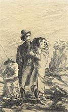 Jack Butler Yeats RHA (1871-1957) A GIRL CLINGS TO A YOUNG MAN ON A BEACH [ILLUSTRATION TO THE COLLEGIANS, 1904]