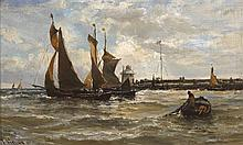 Edwin Hayes RHA RI ROI (1819-1904) YARMOUTH NORTH WITH TRAWLERS LEAVING HARBOUR, c.1880