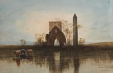 Andrew Nicholl RHA (1804-1886) CATTLE WATERING - ABBEY AND ROUNDTOWER, DEVENISH ISLAND