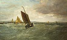 Edwin Hayes RHA RI ROI (1819-1904) FISHING BOATS OFF A HARBOUR, c.1892-1900