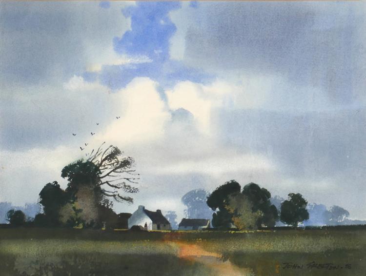 John Skelton (1923-2009) LANDSCAPE WITH COTTAGES, 1988