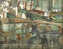 Basil Ivan Rákóczi (1908-1979) FIGURES IN BOATS, INISHMORE, ARAN ISLANDS