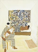 Gerard Dillon (1916-1971) PIERROT AND SLEEPING FEMALE, c.1960s