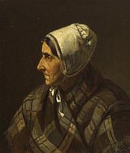 Augustus Nicholas Burke RHA (1838-1891) HEAD OF OLD WOMAN