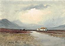William Percy French (1854-1920) COTTAGES IN BOG LANDSCAPE, 1916