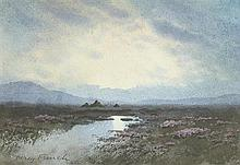 William Percy French (1854-1920) BOG LAKE WITH HEATHER