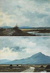 Douglas Alexander (1871-1945) TURF STACKS, CONNEMARA and BOGPOOL, CONNEMARA (A PAIR) signed lower left and lower right respectively watercolour 27