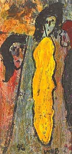 THREE WOMEN, 1996 Matt Lamb (b.1933) Signature: signed lower right; dated lower left; numbered 1996.084 on reverse Medium: oil on board Measure: 61
