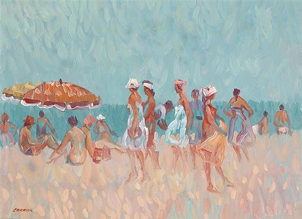 Desmond Carrick RHA (1928-2012) LIGHT BREEZE ON BURRIANA BEACH, NERJA, SPAIN