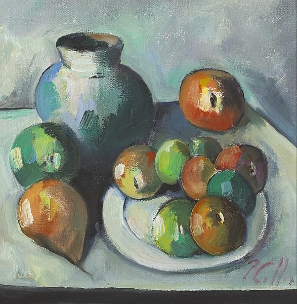 Peter Collis RHA (1929-2012) FRUIT PLATE WITH BLUE JUG