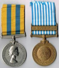 Elizabeth II Korea Medal 1950-1953 and United Nations Korea Medal 1950-1954 to Royal Ulster Rifles casualty. 92)