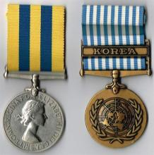 Elizabeth II Korea Medal 1950-1953 and United Nations Korea Medal 1950-1954 to Royal Ulster Rifles Prisoner of War. (2)