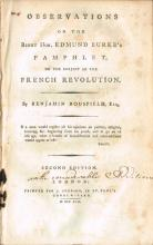 Bousfield, Benjamin. Observations on the Right Hon. Edmund Burke's Pamphlet on the Subject of the French Revolution.
