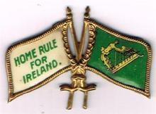 Circa 1890. Home Rule enamel and gilt badge.