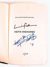 Keith Richards, Life, signed book.