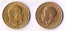 Edward VII and George V gold sovereigns, 1909 and 1911.