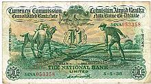 Currency Commission Consolidated Banknote 'Ploughman' National Bank One Pound 5-5-38.