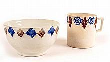1850s Belleek spongeware bowl and mug