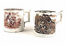 1850s Belleek stoneware transfer printed mug