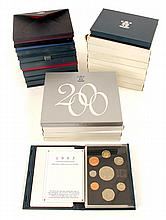 UK Proof Sets in presentation cases, collection 1970 to 2002.