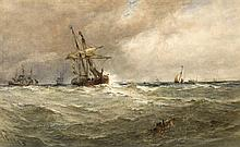 Edwin Hayes RHA RI ROI (1819-1904) VESSELS COMING TO ANCHOR, SWANSEA BAY