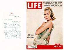 Grace Kelly. Handwritten letter