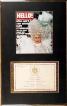 Elton John. Invitation to Elton John's 50th birthday party at the Hammersmith Palais.