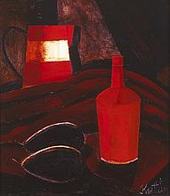 Graham Knuttel (b.1954) STILL LIFE WITH BOTTLE, JUG AND PLUMS
