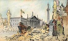 Edmond Delrenne (Belgian, fl.1915-18) DUBLIN 1916 INCLUDING A VIEW OF THE IRISH REPUBLIC FLAG OVER THE G.P.O., SACKVILLE STREET (A P...