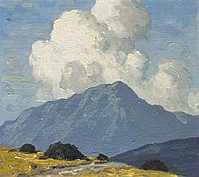 Paul Henry RHA (1876-1958) TURF STACKS WITH MOUNTAIN BEYOND, c.1940