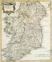 1722 Map by Robert Morden, The Kingdom of Ireland.