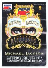 Michael Jackson, 1992 Dangerous Tour, Dublin, concert poster.