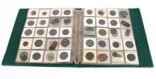 Collection in album with mainly copper, bronze and brass English and Irish.