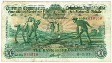 Currency Commission Consolidated Banknote 'Ploughman' Bank of Ireland One Pound 8-2-37