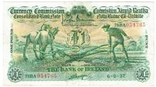Currency Commission Consolidated Banknote 'Ploughman' Bank of Ireland One Pound 6-9-37