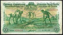 Currency Commission Consolidated Banknote 'Ploughman' Bank of Ireland One Pound, 4-10-38