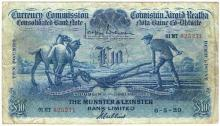 Currency Commission Consolidated Banknote 'Ploughman' Munster & Leinster Bank Ten Pounds 6-5-29