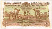 Currency Commission Consolidated Banknote 'Ploughman' Munster & Leinster Bank Five Pounds 8-10-38